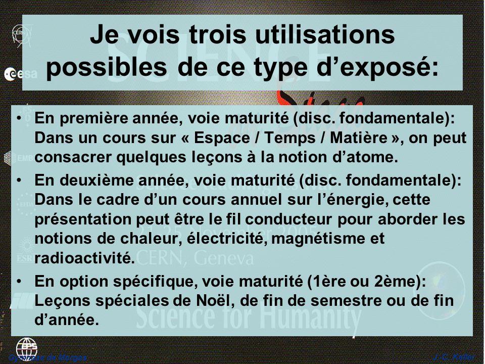 Gymnase de Morges J.-C. Keller Je vois trois utilisations possibles de ce type dexposé: En première année, voie maturité (disc. fondamentale): Dans un