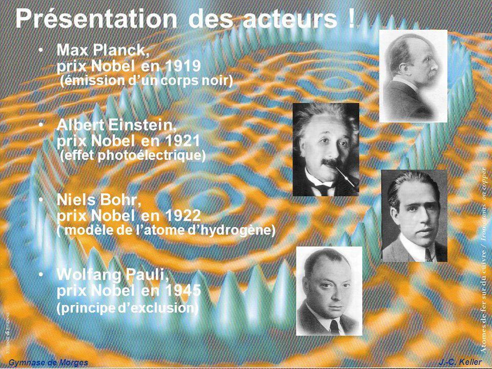 Gymnase de Morges J.-C. Keller Présentation des acteurs ! Max Planck, prix Nobel en 1919 (émission dun corps noir) Albert Einstein, prix Nobel en 1921