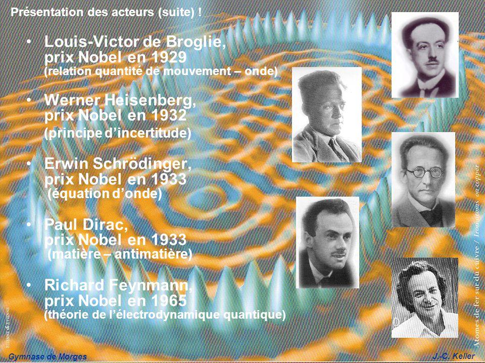 Gymnase de Morges J.-C. Keller Présentation des acteurs (suite) ! Louis-Victor de Broglie, prix Nobel en 1929 (relation quantité de mouvement – onde)