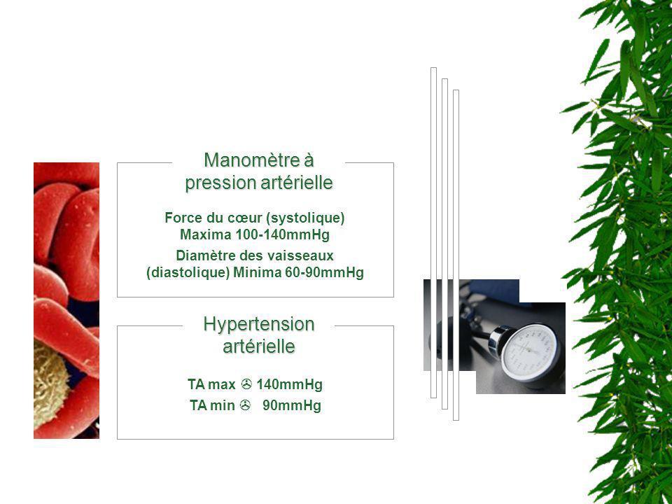 Manomètre à pression artérielle Force du cœur (systolique) Maxima 100-140mmHg Diamètre des vaisseaux (diastolique) Minima 60-90mmHg Hypertension artér