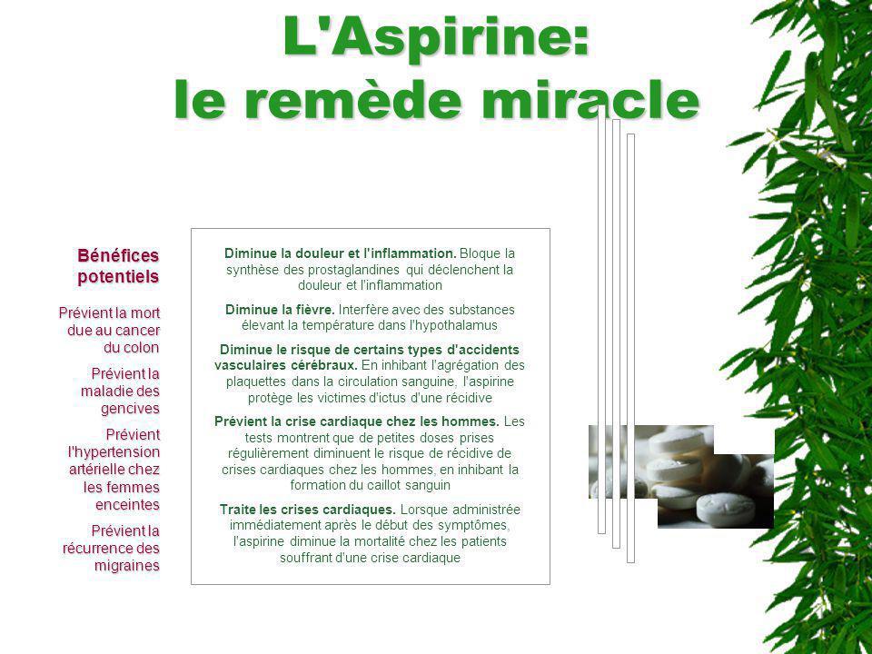 L'Aspirine: le remède miracle Diminue la douleur et l'inflammation. Bloque la synthèse des prostaglandines qui déclenchent la douleur et l'inflammatio
