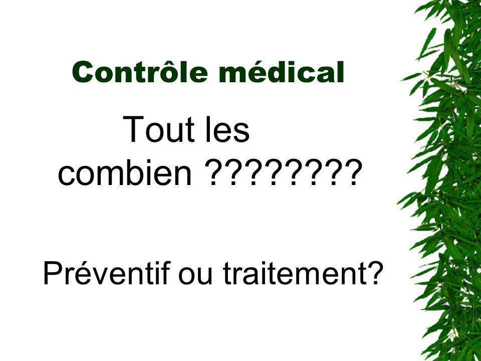 Contrôle médical Tout les combien ???????? Préventif ou traitement?