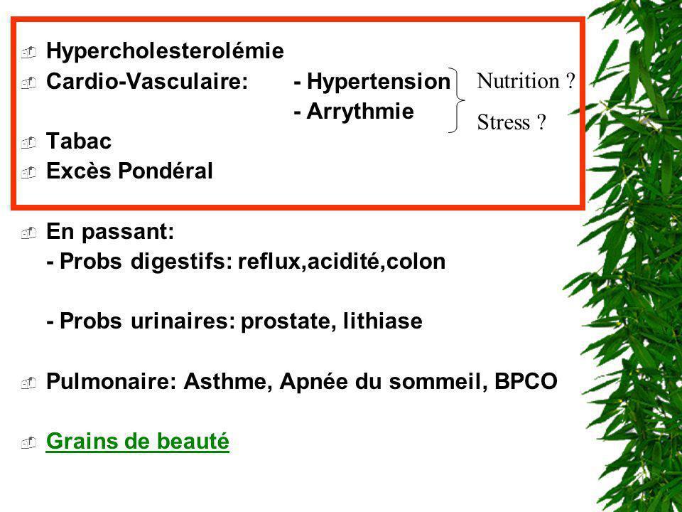 Hypercholesterolémie Cardio-Vasculaire:- Hypertension - Arrythmie Tabac Excès Pondéral En passant: - Probs digestifs: reflux,acidité,colon - Probs uri