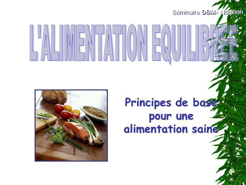 Principes de base pour une alimentation saine Séminaire DBM– Nutrition