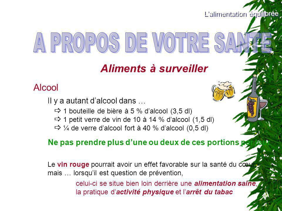 Aliments à surveiller Alcool Il y a autant dalcool dans … 1 bouteille de bière à 5 % dalcool (3,5 dl) 1 petit verre de vin de 10 à 14 % dalcool (1,5 d