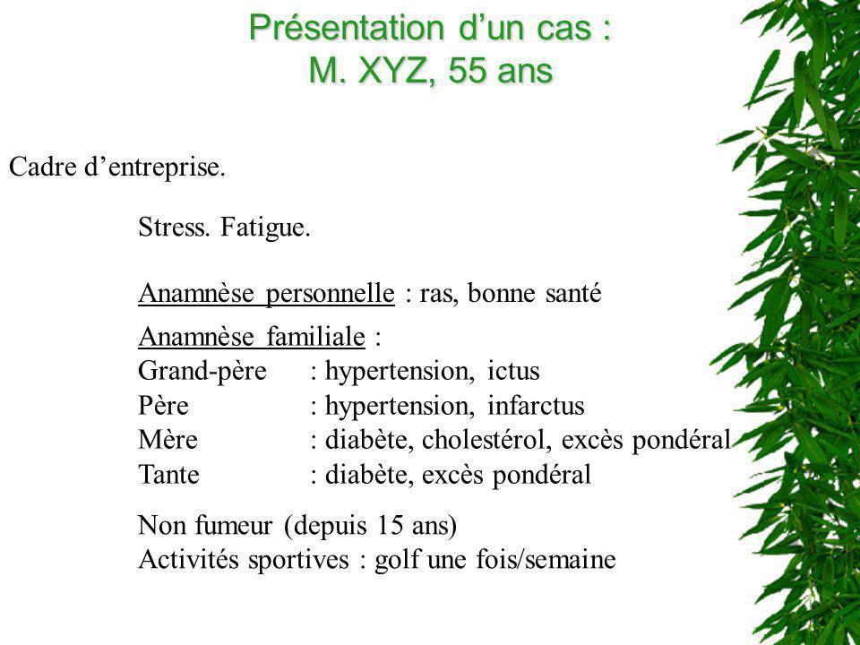 Présentation dun cas : M. XYZ, 55 ans Cadre dentreprise. Stress. Fatigue. Anamnèse personnelle : ras, bonne santé Anamnèse familiale : Grand-père: hyp