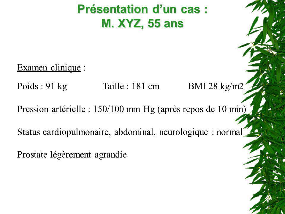 Présentation dun cas : M. XYZ, 55 ans Examen clinique : Poids : 91 kgTaille : 181 cm BMI 28 kg/m2 Pression artérielle : 150/100 mm Hg (après repos de
