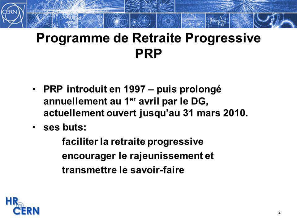 2 Programme de Retraite Progressive PRP PRP introduit en 1997 – puis prolongé annuellement au 1 er avril par le DG, actuellement ouvert jusquau 31 mar
