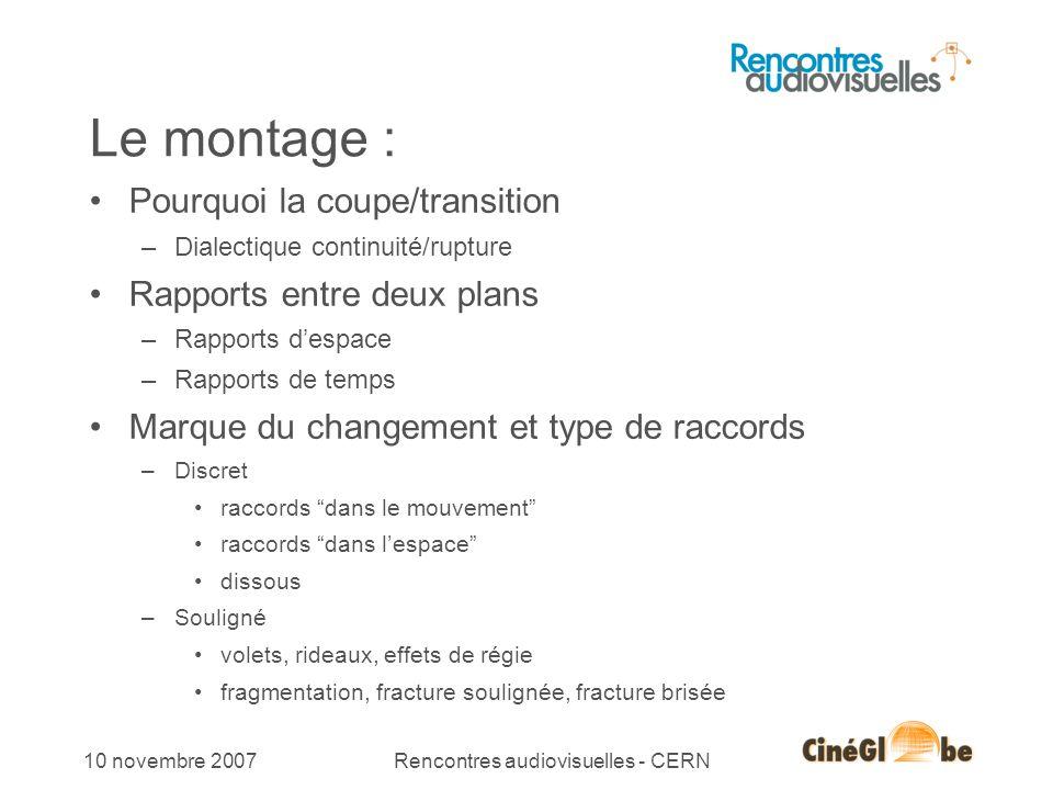 10 10 novembre 2007Rencontres audiovisuelles - CERN Le montage : Pourquoi la coupe/transition –Dialectique continuité/rupture Rapports entre deux plan