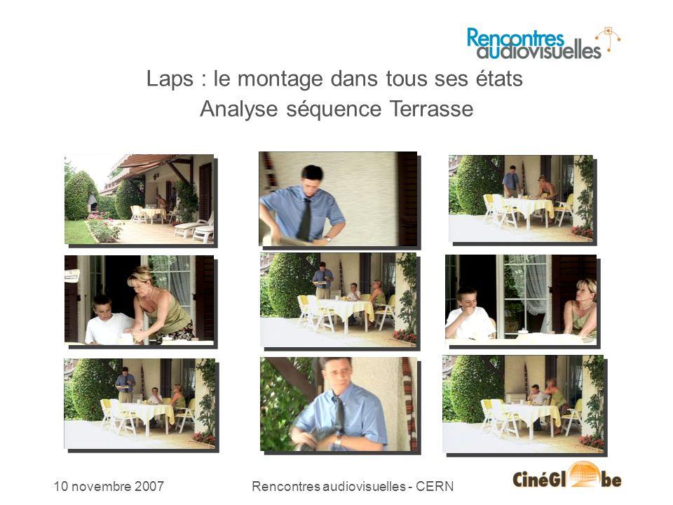 10 novembre 2007Rencontres audiovisuelles - CERN Laps : le montage dans tous ses états Analyse séquence Terrasse