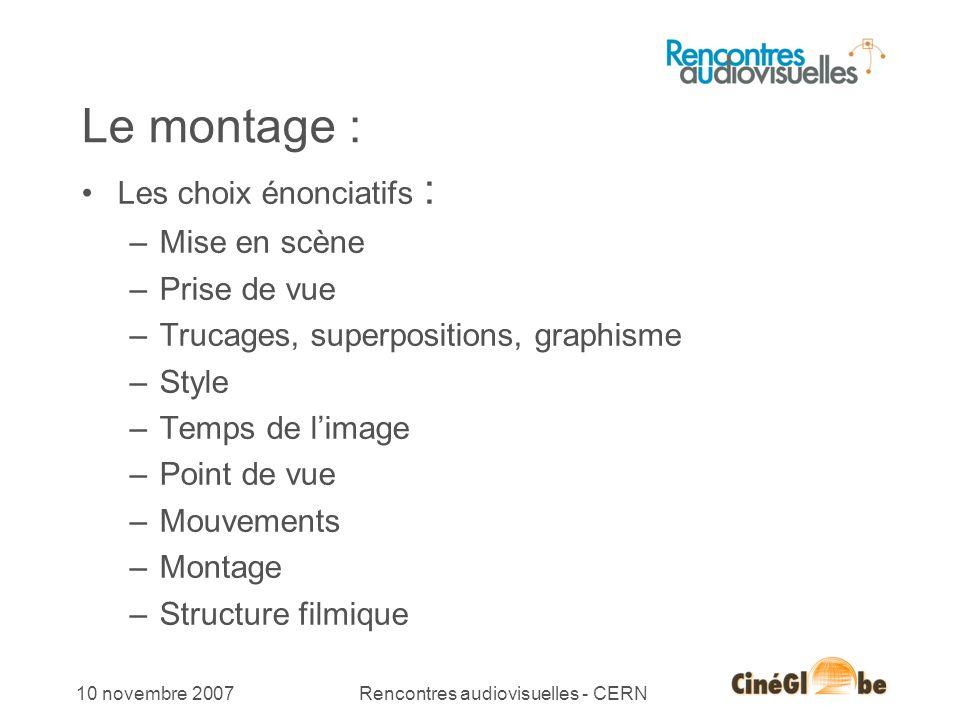 9 10 novembre 2007Rencontres audiovisuelles - CERN Le montage : Les choix énonciatifs : –Mise en scène –Prise de vue –Trucages, superpositions, graphi