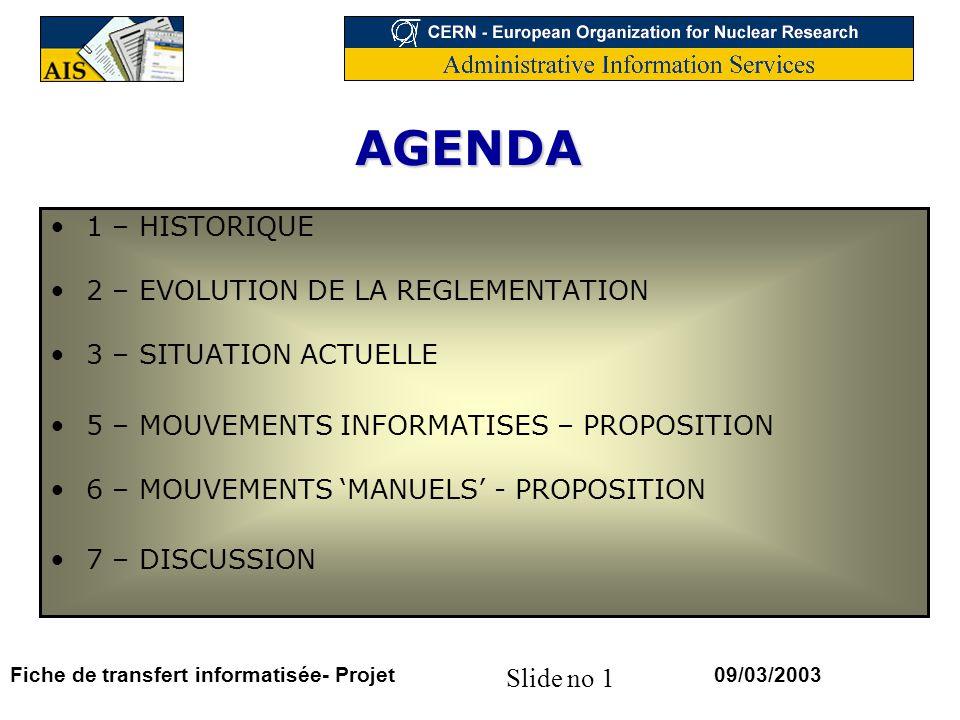 Slide no 1 09/03/2003Fiche de transfert informatisée- Projet AGENDA 1 – HISTORIQUE 2 – EVOLUTION DE LA REGLEMENTATION 3 – SITUATION ACTUELLE 5 – MOUVEMENTS INFORMATISES – PROPOSITION 6 – MOUVEMENTS MANUELS - PROPOSITION 7 – DISCUSSION