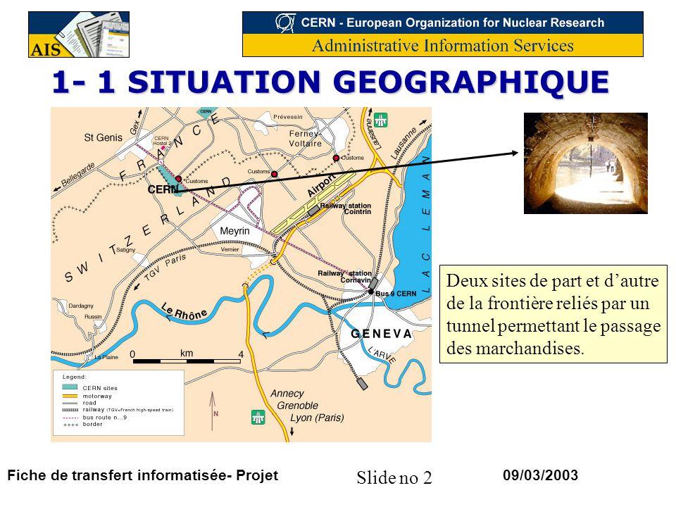Slide no 2 09/03/2003Fiche de transfert informatisée- Projet 1- 1 SITUATION GEOGRAPHIQUE Deux sites de part et dautre de la frontière reliés par un tunnel permettant le passage des marchandises.