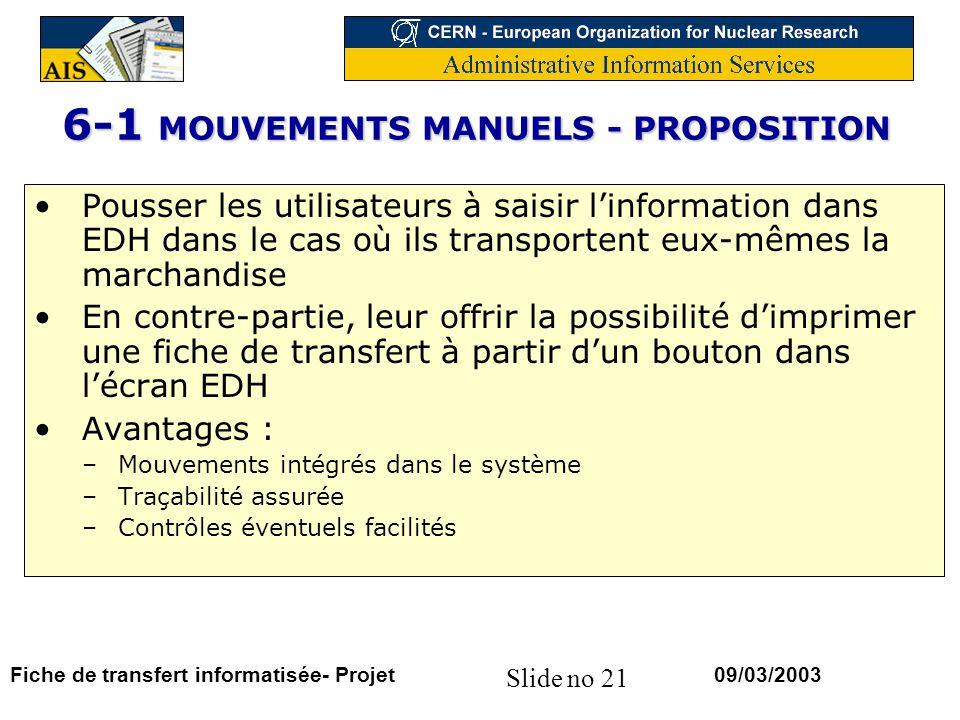 Slide no 21 09/03/2003Fiche de transfert informatisée- Projet 6-1 MOUVEMENTS MANUELS - PROPOSITION Pousser les utilisateurs à saisir linformation dans EDH dans le cas où ils transportent eux-mêmes la marchandise En contre-partie, leur offrir la possibilité dimprimer une fiche de transfert à partir dun bouton dans lécran EDH Avantages : –Mouvements intégrés dans le système –Traçabilité assurée –Contrôles éventuels facilités