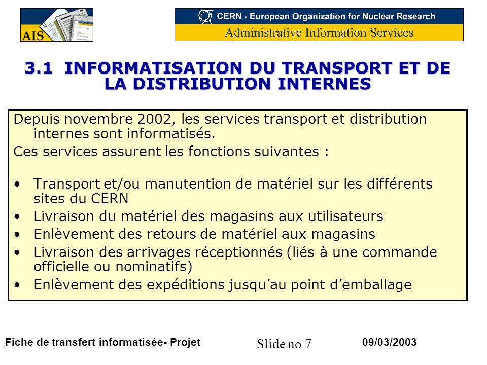 Slide no 7 09/03/2003Fiche de transfert informatisée- Projet 3.1 INFORMATISATION DU TRANSPORT ET DE LA DISTRIBUTION INTERNES Depuis novembre 2002, les