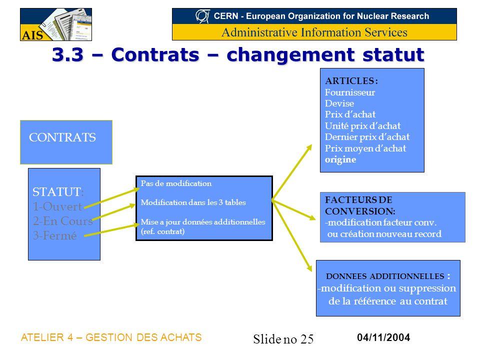 Slide no 25 04/11/2004ATELIER 4 – GESTION DES ACHATS STATUT: 1-Ouvert 2-En Cours 3-Fermé CONTRATS Pas de modification Modification dans les 3 tables M