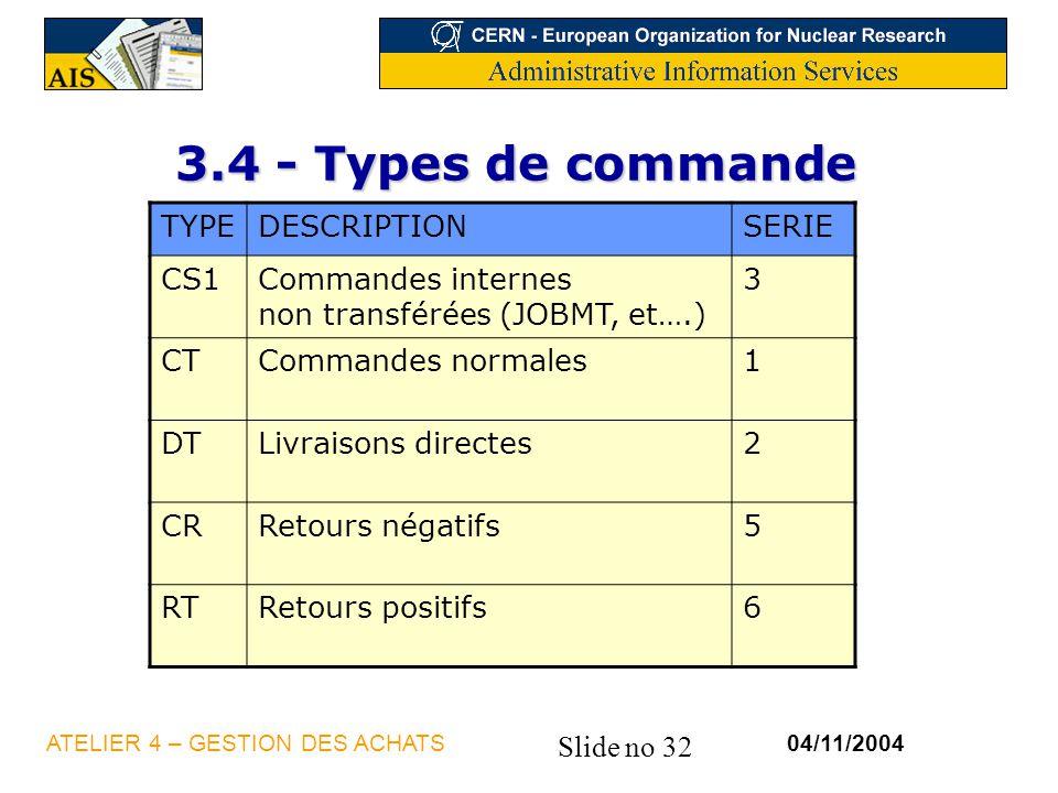 Slide no 32 04/11/2004ATELIER 4 – GESTION DES ACHATS 3.4 - Types de commande TYPEDESCRIPTIONSERIE CS1Commandes internes non transférées (JOBMT, et….)