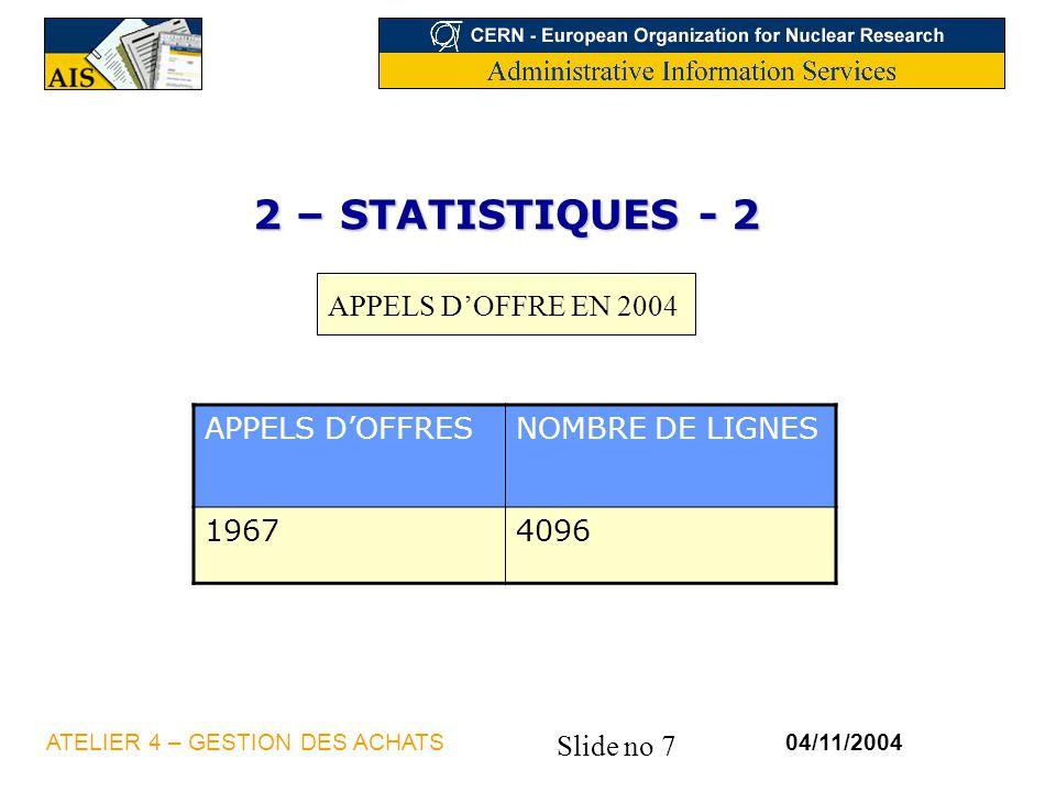 Slide no 7 04/11/2004ATELIER 4 – GESTION DES ACHATS 2 – STATISTIQUES - 2 APPELS DOFFRESNOMBRE DE LIGNES 19674096 APPELS DOFFRE EN 2004