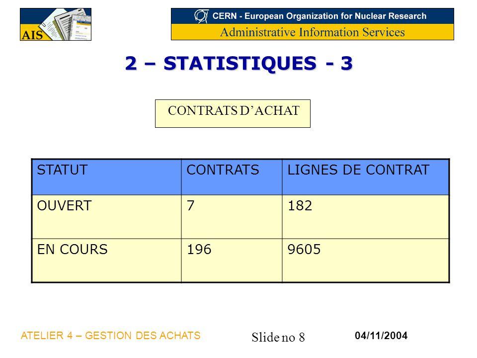Slide no 8 04/11/2004ATELIER 4 – GESTION DES ACHATS 2 – STATISTIQUES - 3 CONTRATS DACHAT STATUTCONTRATSLIGNES DE CONTRAT OUVERT7182 EN COURS1969605