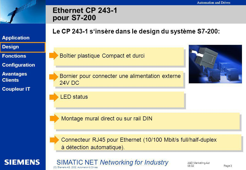 Automation and Drives A&D Marketing Aut 08.02 Page 3 (C) Si emens AG, 2002, Automation & Drives SIMATIC NET Networking for Industry EK Application Des