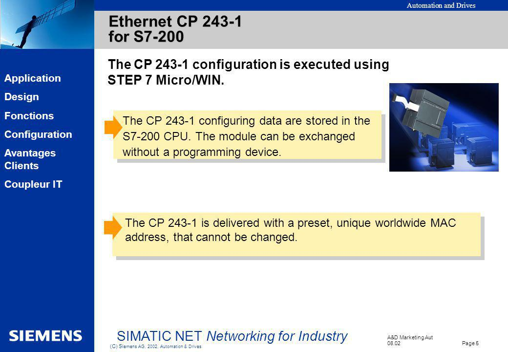 Automation and Drives A&D Marketing Aut 08.02 Page 5 (C) Si emens AG, 2002, Automation & Drives SIMATIC NET Networking for Industry EK Application Des
