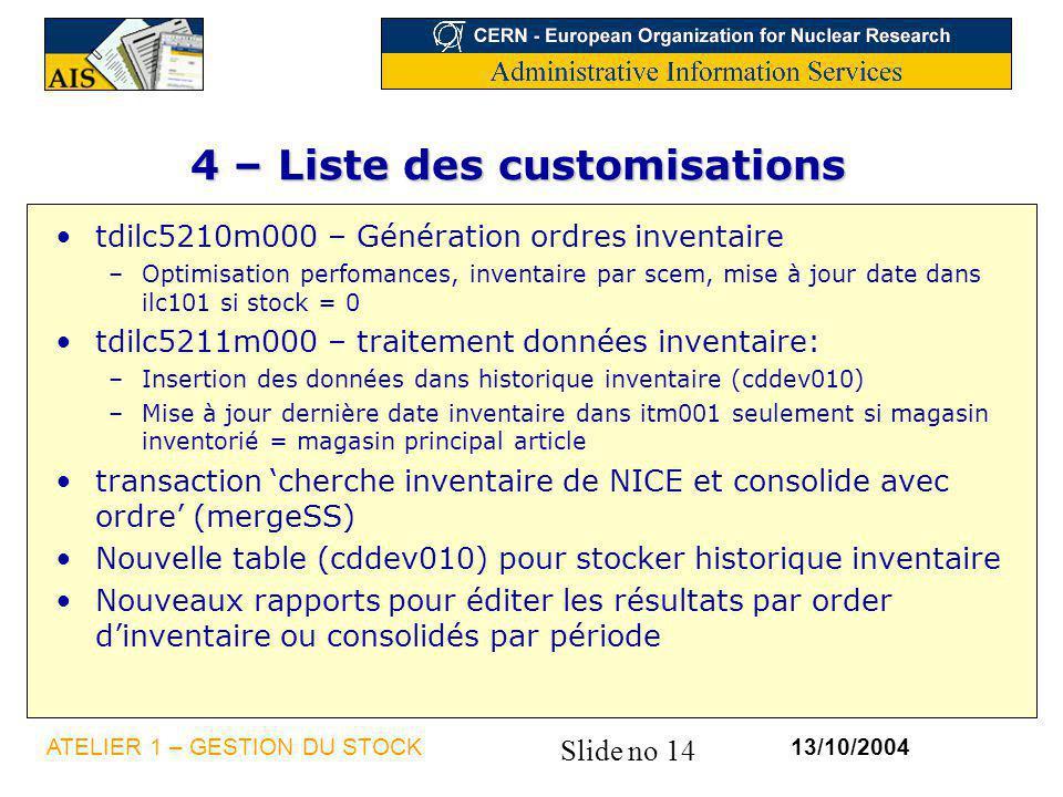 Slide no 14 13/10/2004ATELIER 1 – GESTION DU STOCK 4 – Liste des customisations tdilc5210m000 – Génération ordres inventaire –Optimisation perfomances