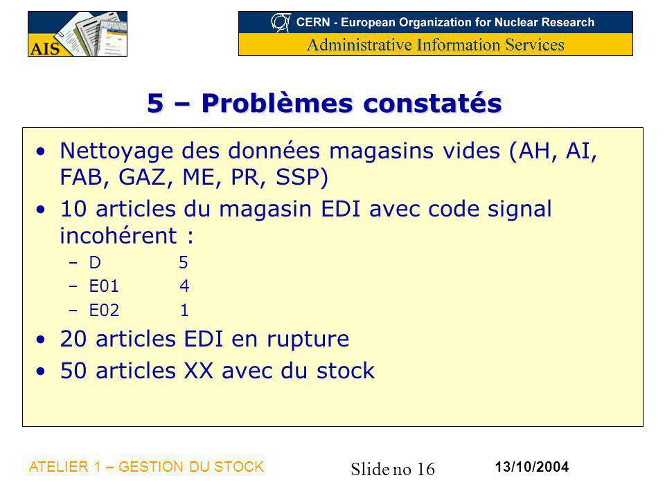 Slide no 16 13/10/2004ATELIER 1 – GESTION DU STOCK 5 – Problèmes constatés Nettoyage des données magasins vides (AH, AI, FAB, GAZ, ME, PR, SSP) 10 art