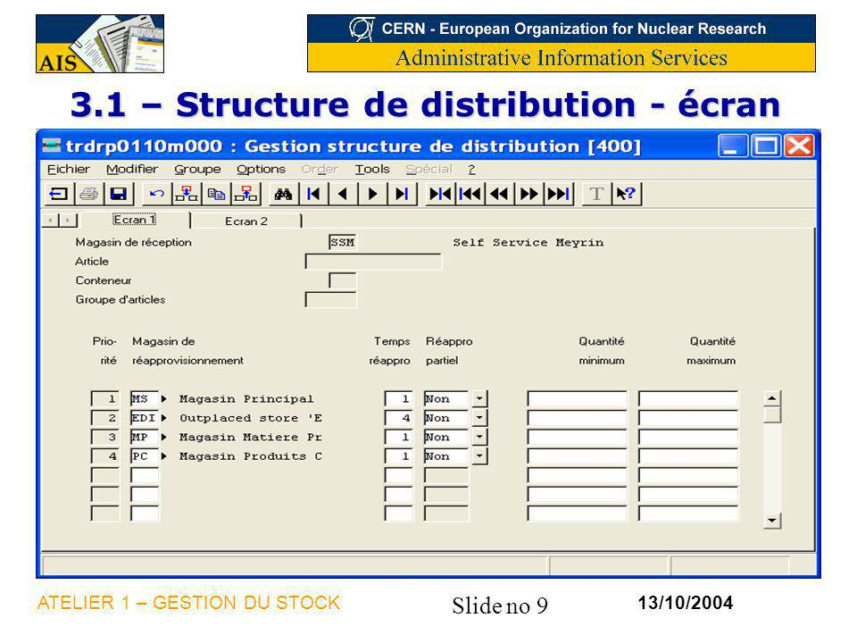 Slide no 9 13/10/2004ATELIER 1 – GESTION DU STOCK 3.1 – Structure de distribution - écran