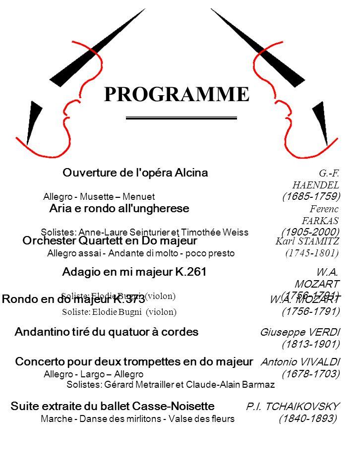 Orchester Quartett en Do majeur Karl STAMITZ Allegro assai - Andante di molto - poco presto (1745-1801) Aria e rondo all'ungherese Ferenc FARKAS Solis