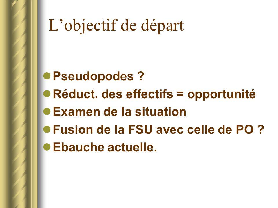 Lobjectif de départ Pseudopodes ? Réduct. des effectifs = opportunité Examen de la situation Fusion de la FSU avec celle de PO ? Ebauche actuelle.