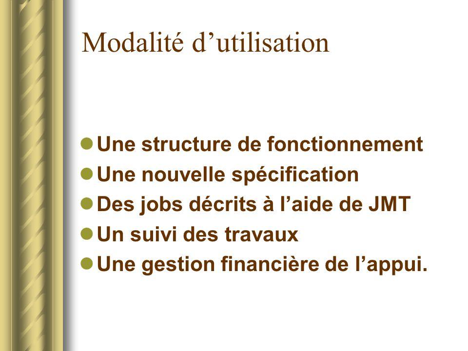 Modalité dutilisation Une structure de fonctionnement Une nouvelle spécification Des jobs décrits à laide de JMT Un suivi des travaux Une gestion fina