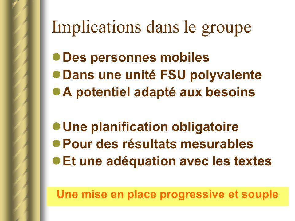 Implications dans le groupe Des personnes mobiles Dans une unité FSU polyvalente A potentiel adapté aux besoins Une planification obligatoire Pour des