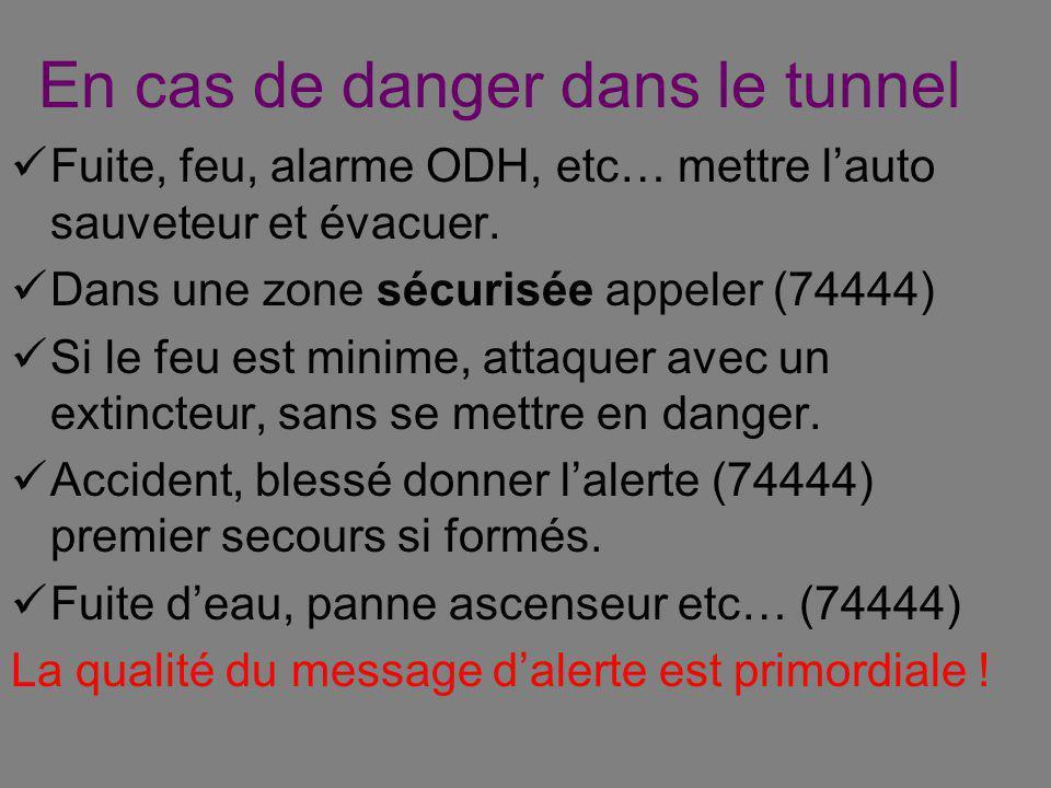 En cas de danger dans le tunnel Fuite, feu, alarme ODH, etc… mettre lauto sauveteur et évacuer.