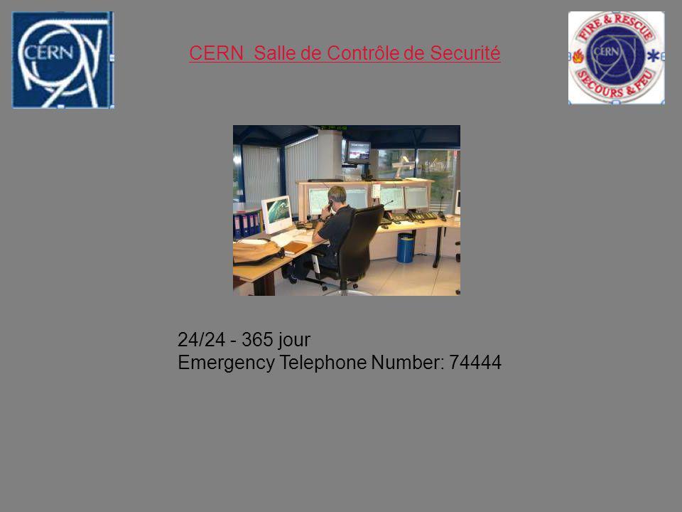 CERN Salle de Contrôle de Securité 24/24 - 365 jour Emergency Telephone Number: 74444
