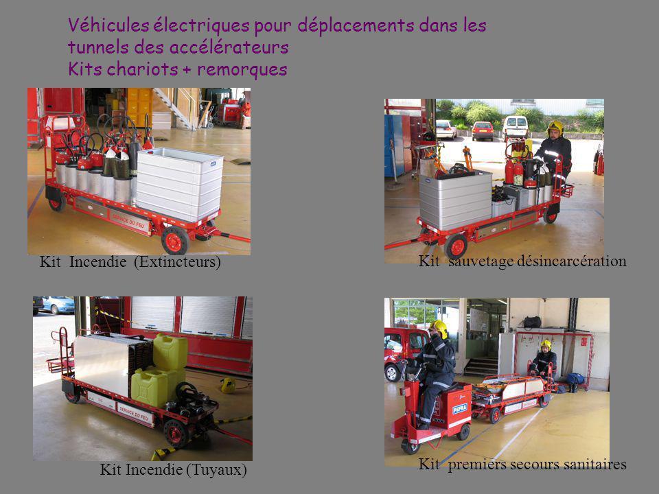 Véhicules électriques pour déplacements dans les tunnels des accélérateurs Kits chariots + remorques Kit Incendie (Extincteurs) Kit sauvetage désincarcération Kit premiers secours sanitaires Kit Incendie (Tuyaux)