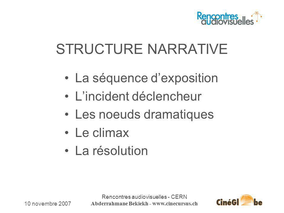 10 novembre 2007 Rencontres audiovisuelles - CERN Abderrahmane Bekiekh - www.cinecursus.ch STRUCTURE NARRATIVE La séquence dexposition Lincident décle