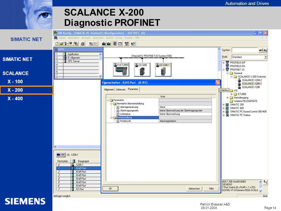 Automation and Drives SIMATIC NET SCALANCE X - 100 X - 200 X - 400 Patrick Brassier A&D 09.01.2004 Page 13 SIMATIC NET PROFINET – Diagnostic de réseau
