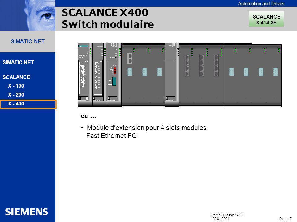 Automation and Drives SIMATIC NET SCALANCE X - 100 X - 200 X - 400 Patrick Brassier A&D 09.01.2004 Page 16 SIMATIC NET Management réseau avec SNMP Dia