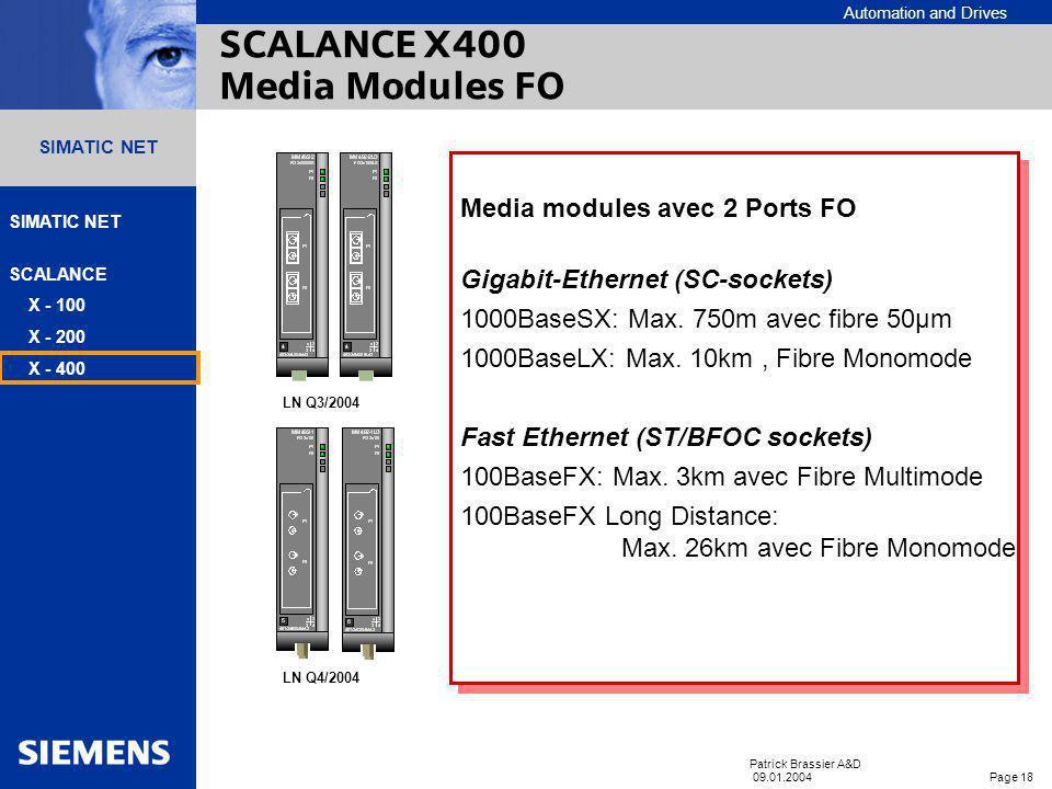 Automation and Drives SIMATIC NET SCALANCE X - 100 X - 200 X - 400 Patrick Brassier A&D 09.01.2004 Page 17 SIMATIC NET Caractéristiques Alimentation r