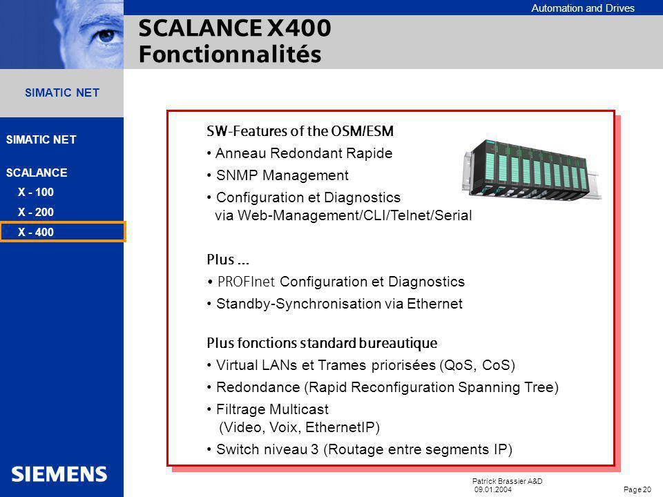 Automation and Drives SIMATIC NET SCALANCE X - 100 X - 200 X - 400 Patrick Brassier A&D 09.01.2004 Page 19 SIMATIC NET Module dextension 8 Ports Twist