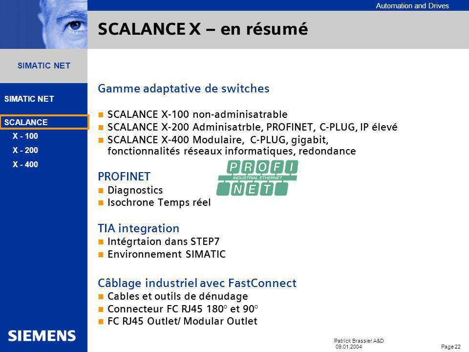 Automation and Drives SIMATIC NET SCALANCE X - 100 X - 200 X - 400 Patrick Brassier A&D 09.01.2004 Page 21 SIMATIC NET Réseau de terminaux redondants