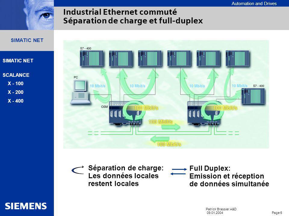 Automation and Drives SIMATIC NET SCALANCE X - 100 X - 200 X - 400 Patrick Brassier A&D 09.01.2004 Page 5 SIMATIC NET Industrial Ethernet commuté Séparation de charge et full-duplex Séparation de charge: Les données locales restent locales Full Duplex: Emission et réception de données simultanée