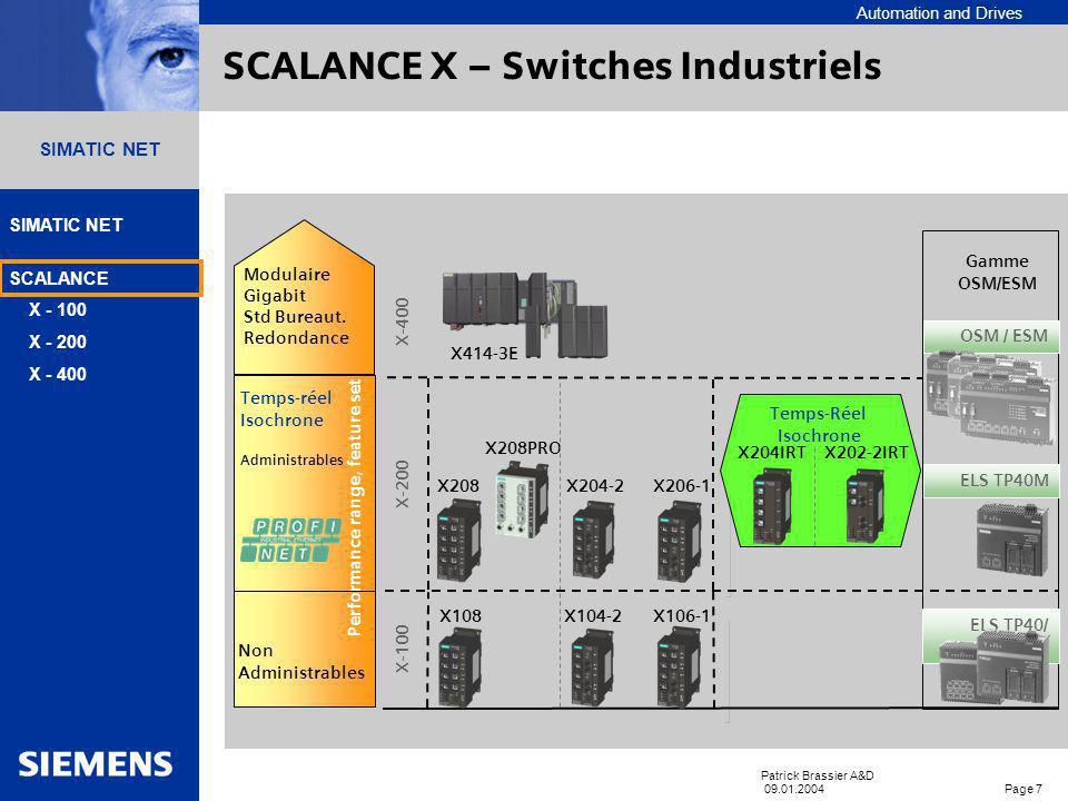 Automation and Drives SIMATIC NET SCALANCE X - 100 X - 200 X - 400 Patrick Brassier A&D 09.01.2004 Page 7 SIMATIC NET X-200 X208X204-2 X206-1 X208PRO X204IRT Temps-Réel Isochrone X202-2IRT Temps-réel Isochrone Administrables OSM / ESM ELS TP40/ TP80 ELS TP40M Gamme OSM/ESM X-100 X108X104-2 X106-1 Non Administrables X-400 Modulaire Gigabit Std Bureaut.