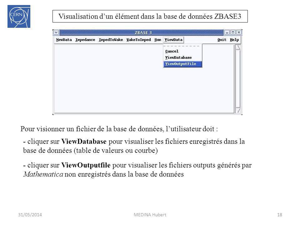 Visualisation dun élément dans la base de données ZBASE3 Pour visionner un fichier de la base de données, lutilisateur doit : 18MEDINA Hubert31/05/201