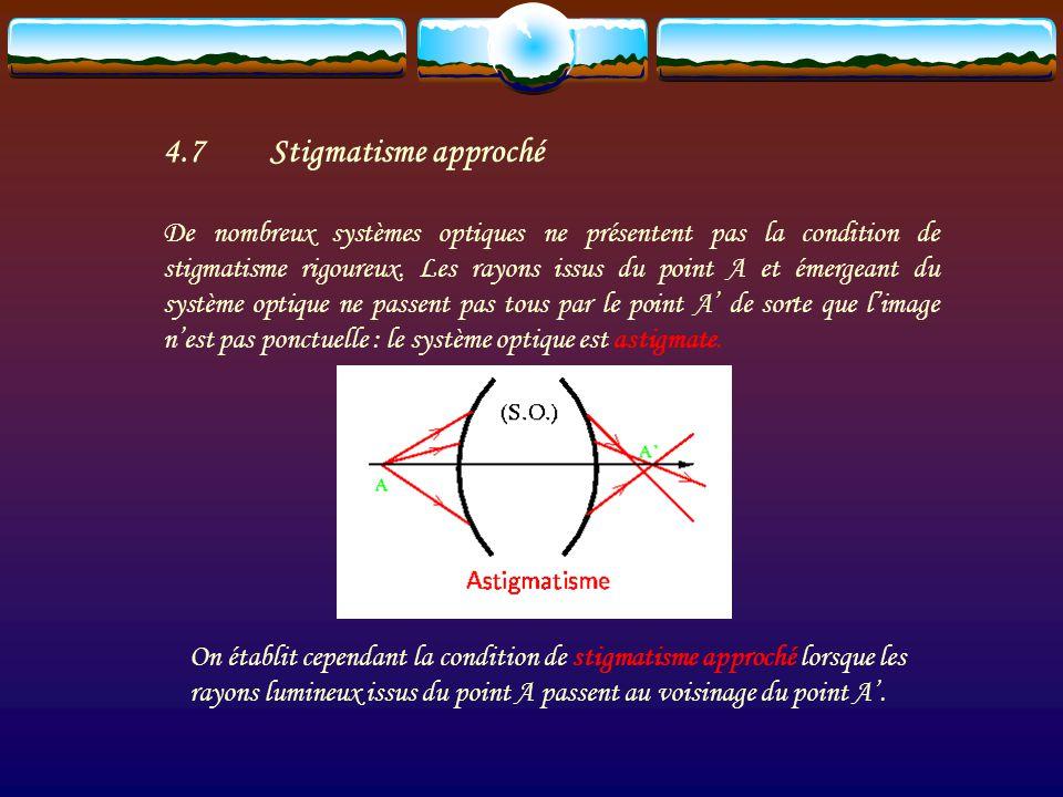 Les points A et A sont alors des points conjugués et la relation qui lie leur position est appelée relation de conjugaison. La condition de stigmatism