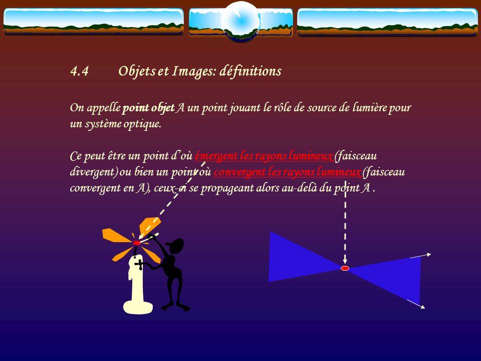 4.4Objets et Images: définitions On appelle point objet A un point jouant le rôle de source de lumière pour un système optique.