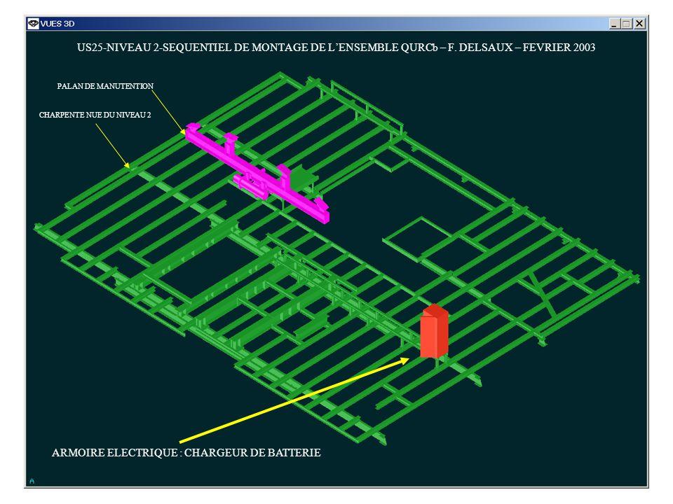US25-NIVEAU 2-SEQUENTIEL DE MONTAGE DE LENSEMBLE QURCb – F. DELSAUX – FEVRIER 2003 ARMOIRE ELECTRIQUE : CHARGEUR DE BATTERIE PALAN DE MANUTENTION CHAR