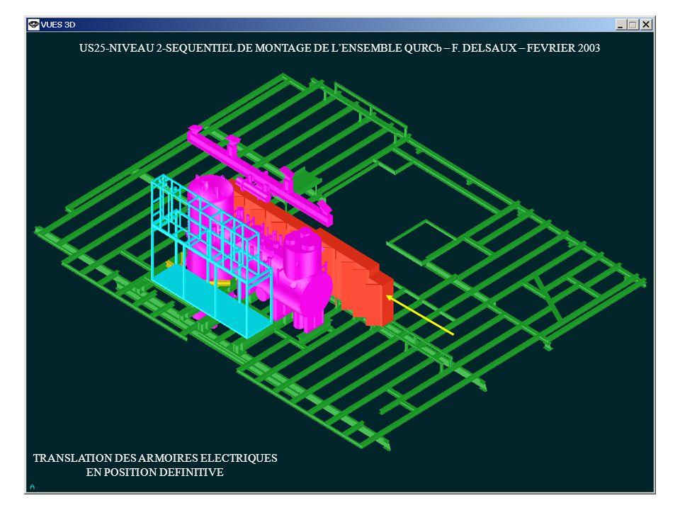US25-NIVEAU 2-SEQUENTIEL DE MONTAGE DE LENSEMBLE QURCb – F. DELSAUX – FEVRIER 2003 TRANSLATION DES ARMOIRES ELECTRIQUES EN POSITION DEFINITIVE