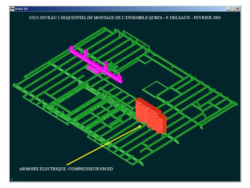 US25-NIVEAU 2-SEQUENTIEL DE MONTAGE DE LENSEMBLE QURCb – F. DELSAUX – FEVRIER 2003 ARMOIRE ELECTRIQUE : COMPRESSEUR FROID