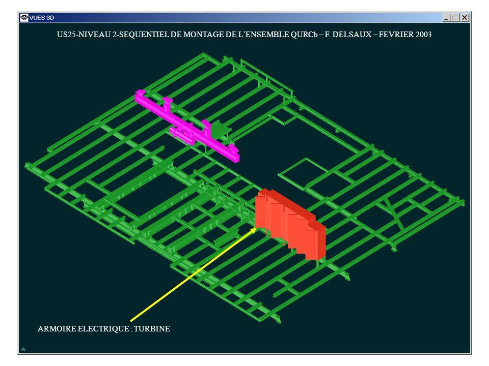 US25-NIVEAU 2-SEQUENTIEL DE MONTAGE DE LENSEMBLE QURCb – F. DELSAUX – FEVRIER 2003 ARMOIRE ELECTRIQUE : TURBINE